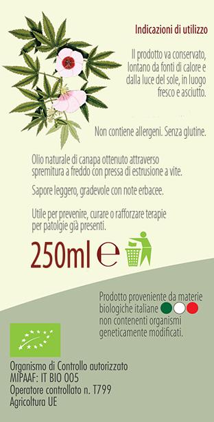 etichetta olio di semi di canapa